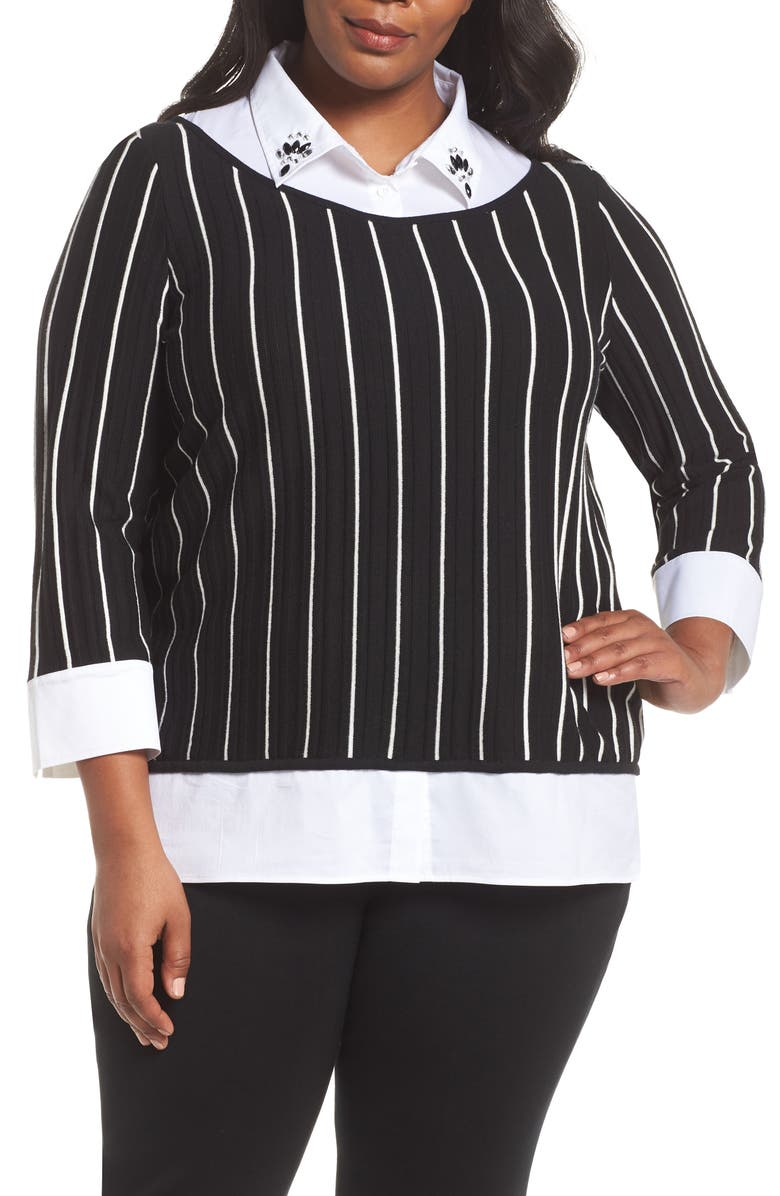 MING WANG Layered Look Tunic, Main, color, BLACK/ IVORY/ WHITE