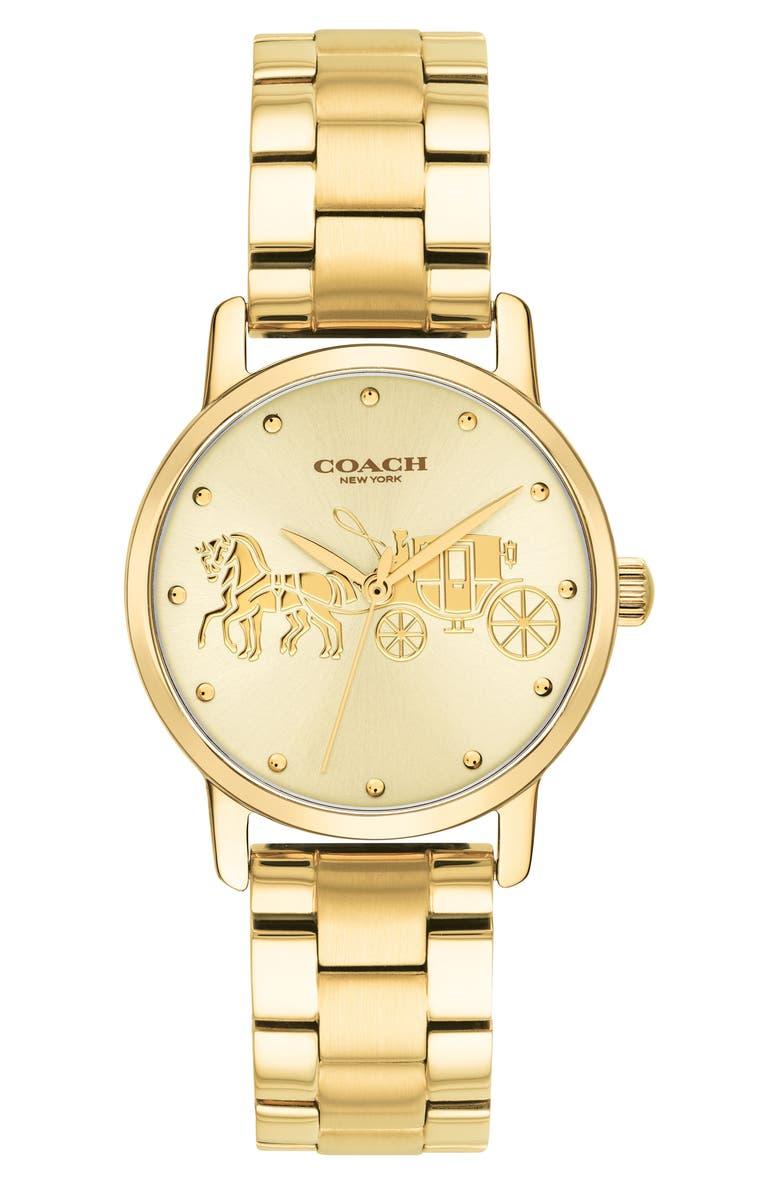 COACH Grand Bracelet Watch, 28mm, Main, color, GOLD