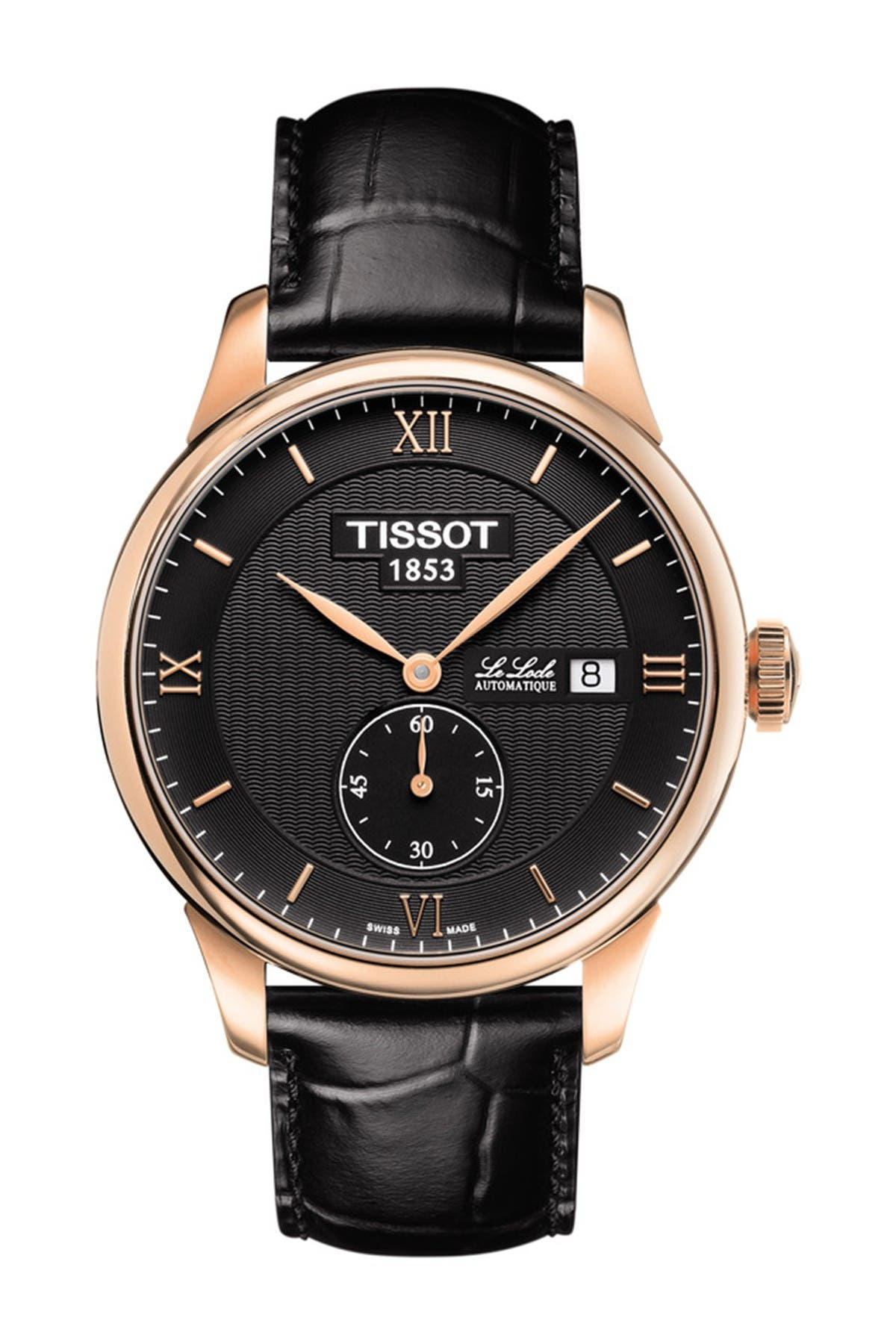 Image of Tissot Men's Le Locle Croc Embossed Leather Strap Watch, 39mm