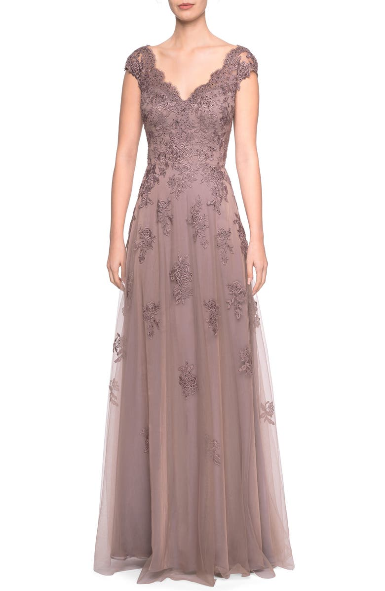 LA FEMME Tulle & Lace Evening Dress, Main, color, COCOA