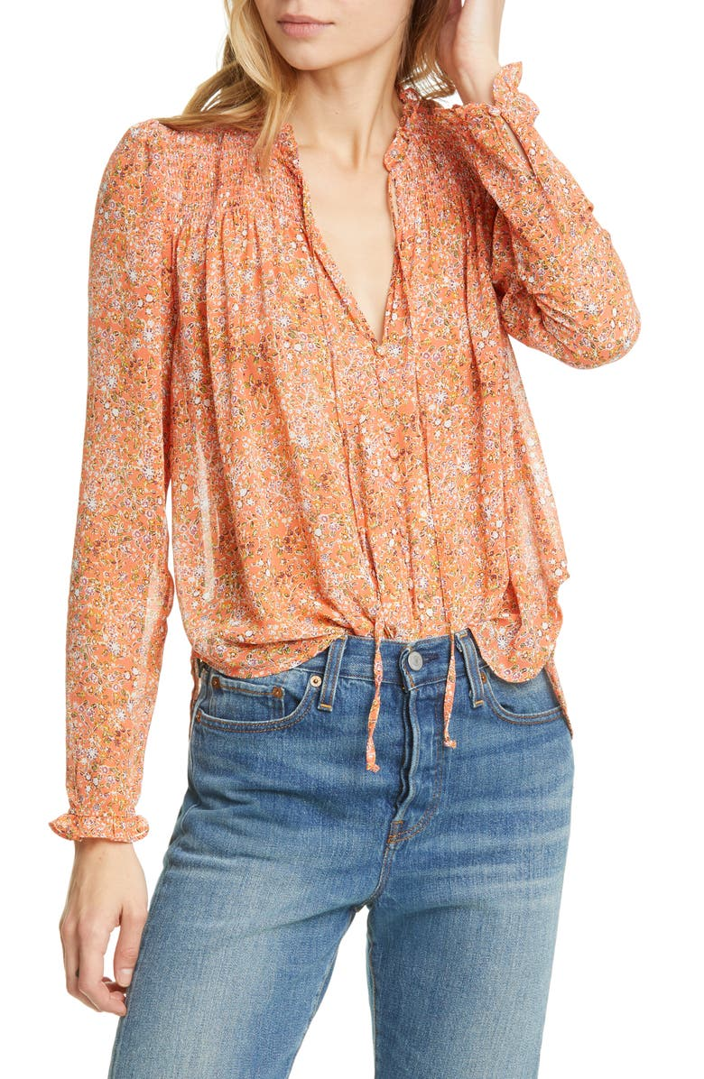 FREE PEOPLE Lela Floral Smocked Ruffle Blouse, Main, color, CORAL COMBO