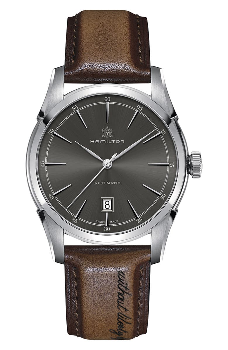 HAMILTON American Classic Automatic Leather Strap Watch, 42mm, Main, color, BROWN/ GREY/ SILVER