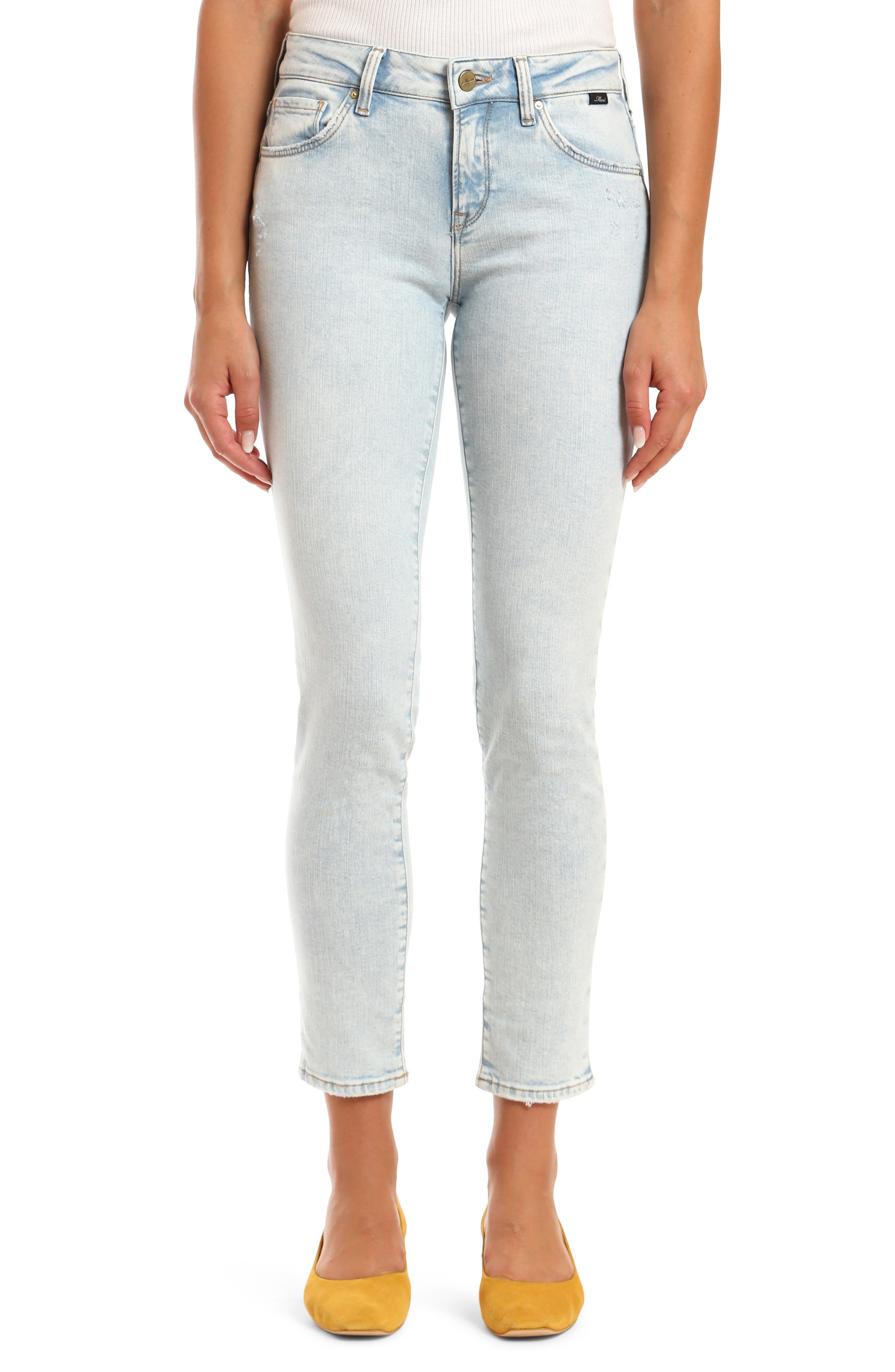 Vintage High Waisted Trousers, Sailor Pants, Jeans Womens Mavi Jeans Ada Distressed Ankle Boyfriend Jeans $118.00 AT vintagedancer.com