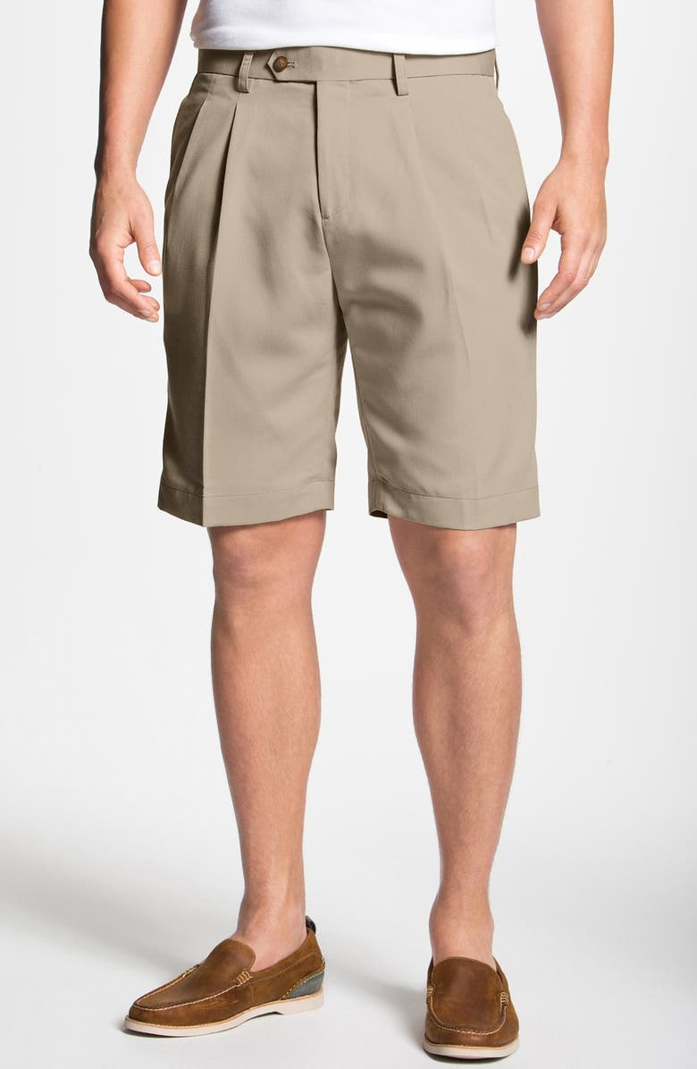 CUTTER & BUCK Double Pleated Microfiber Twill Shorts, Main, color, SAND