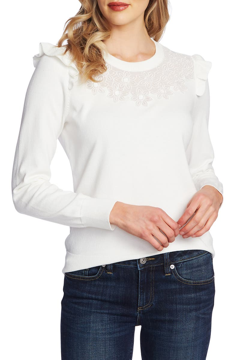 CECE Floral Embroidered Pullover, Main, color, ANTIQUE WHITE