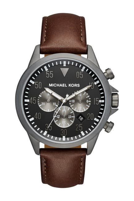 Image of MICHAEL Michael Kors Men's Gage Leather Strap Watch, 45mm