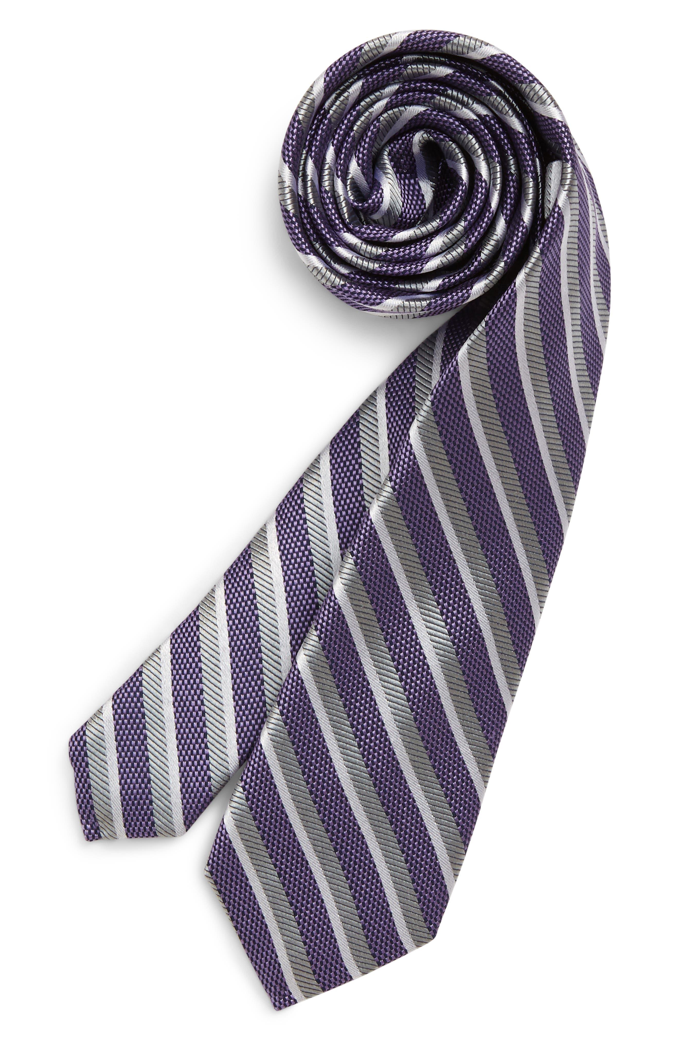 Boys Nordstrom Brandon Stripe Silk Tie Size Big Boy  Purple