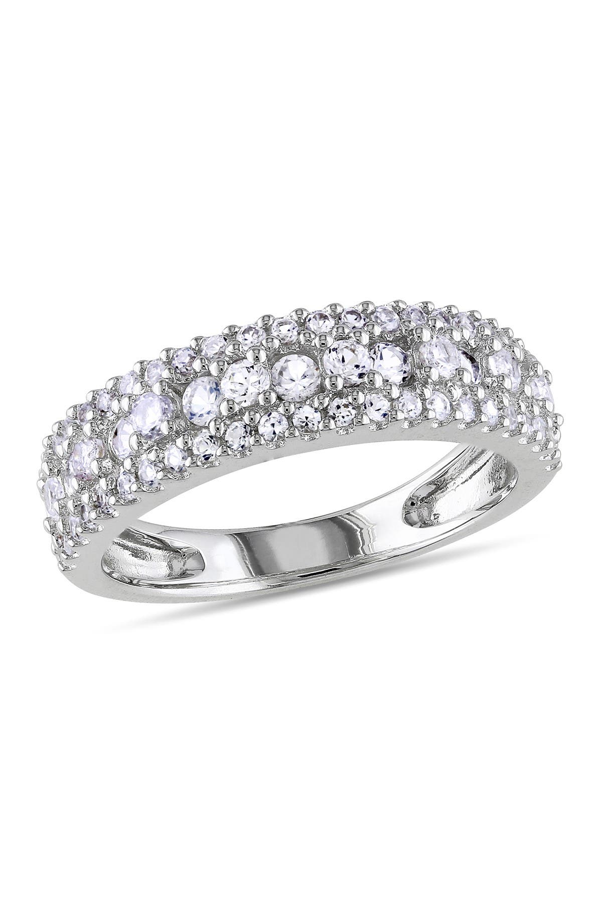 Image of Delmar Sterling Silver White Sapphire Bi-Level Pave Band