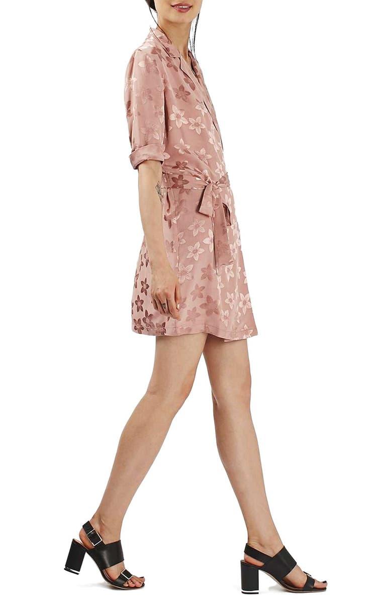 TOPSHOP Floral Jacquard Wrap Dress, Main, color, 680