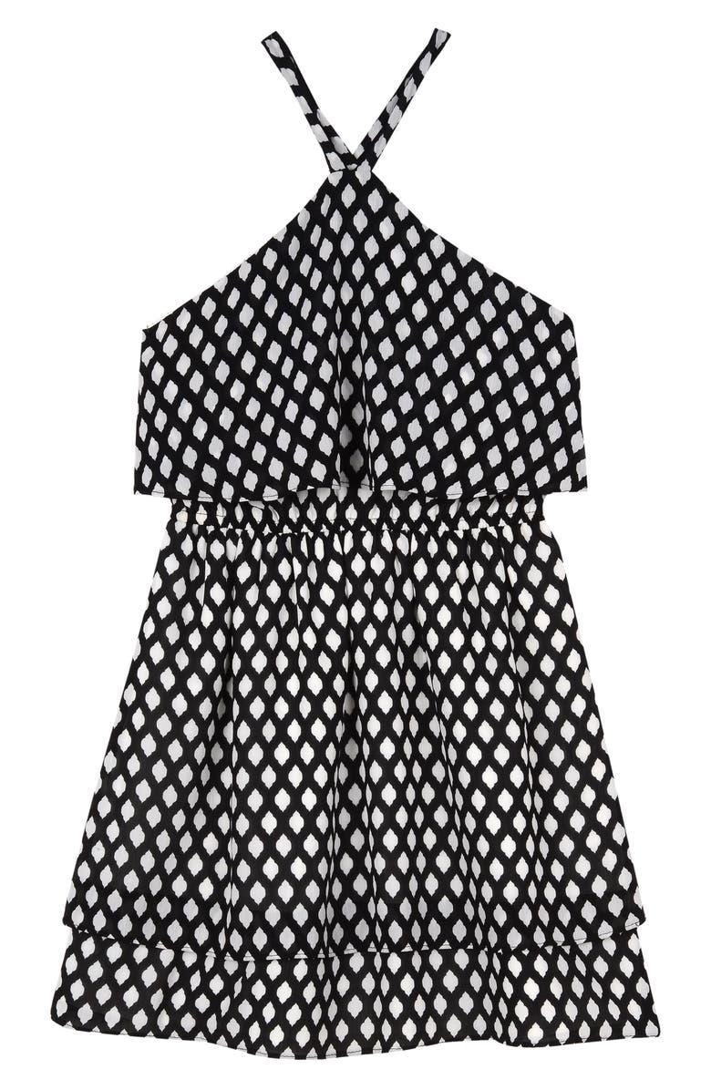 PIPPA & JULIE Halter Dress, Main, color, BLACK/WHITE