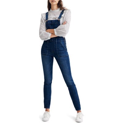 Madewell Groveland Wash Skinny Overalls, Blue
