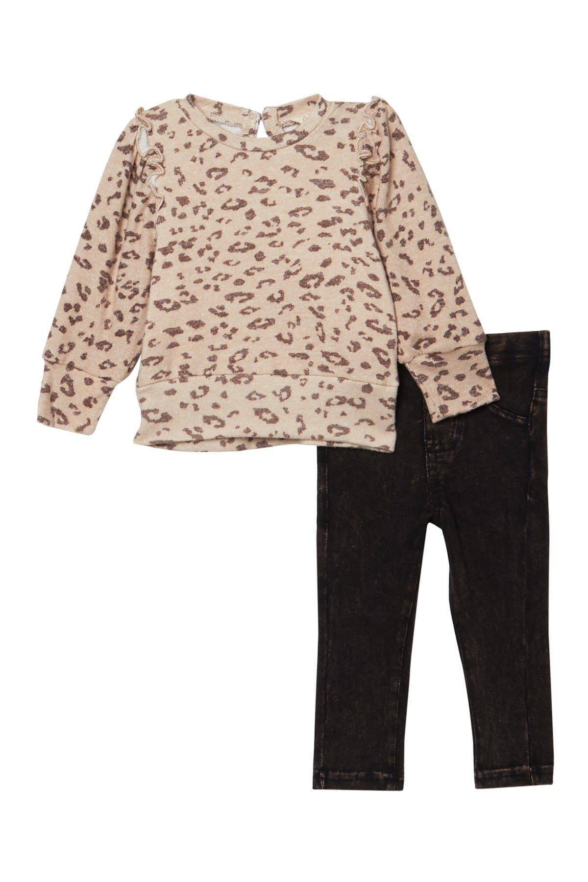 Image of Jessica Simpson Long Sleeve Ruffled Top & Pants Set