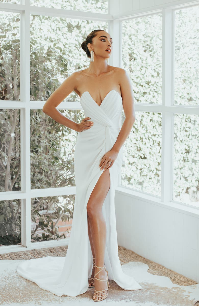 NOEL AND JEAN BY KATIE MAY Wisteria Strapless Trumpet Wedding Dress, Main, color, 900