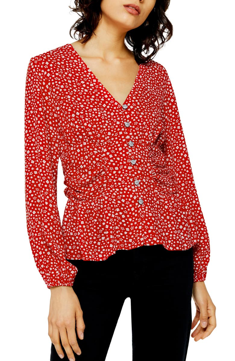 TOPSHOP Floral Ruched Side Top, Main, color, RED