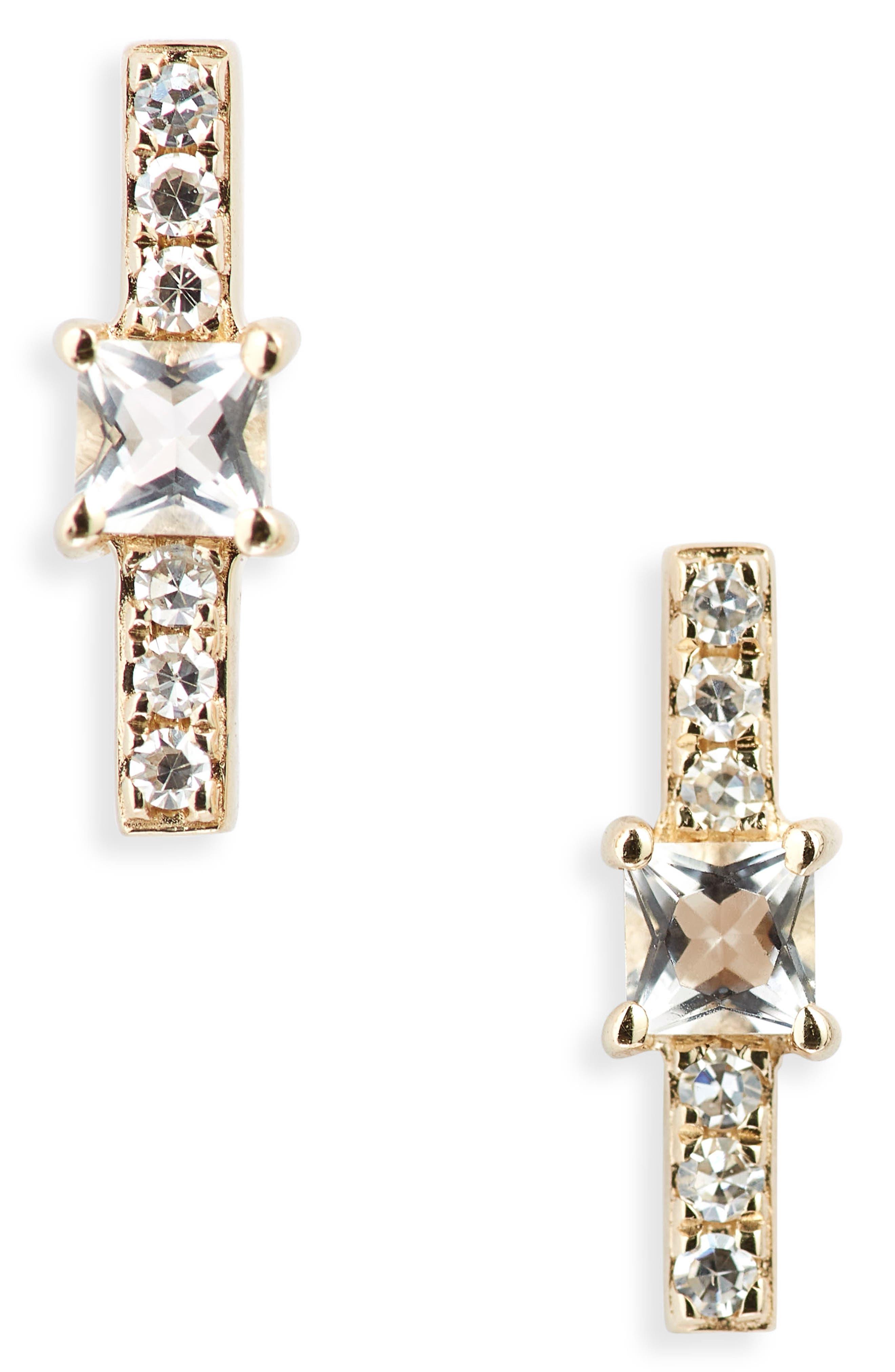 Princess Diamond Bar Stud Earrings