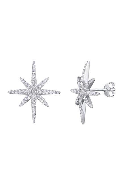 Image of Savvy Cie Sterling Silver CZ Starburst Stud Earrings