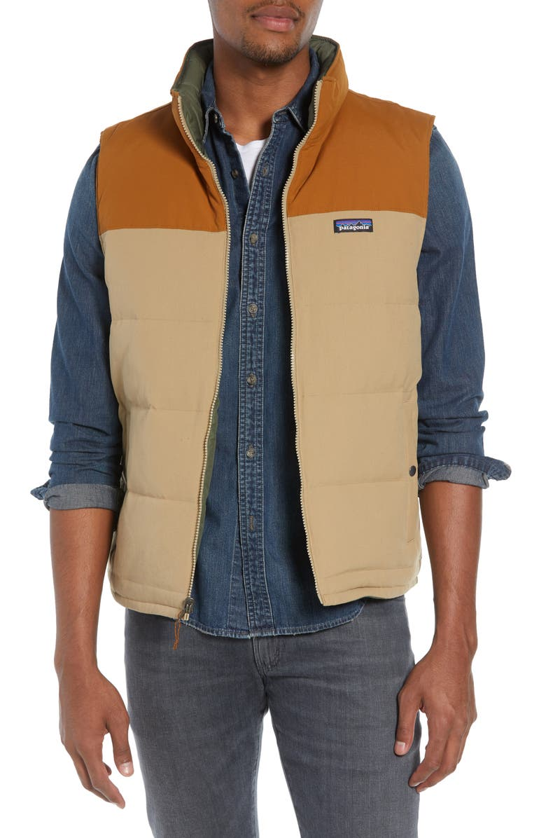 PATAGONIA 'Bivy' Reversible Down Fill Vest, Main, color, MOJAVE KHAKI