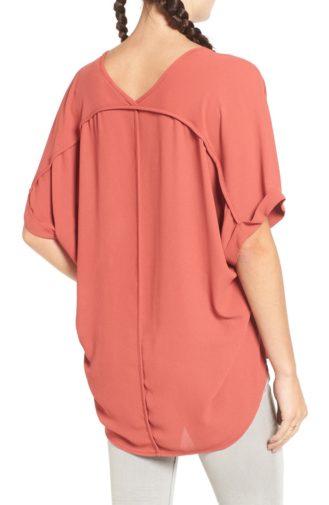 ,                             Lush Cuff Sleeve Woven Tee,                             Alternate thumbnail 176, color,                             800
