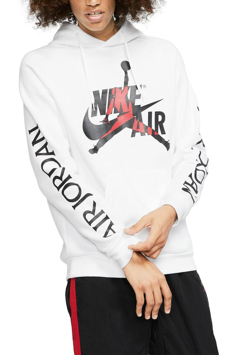 JORDAN Jumpman Classics Hooded Sweatshirt, Main, color, WHITE/ BLACK