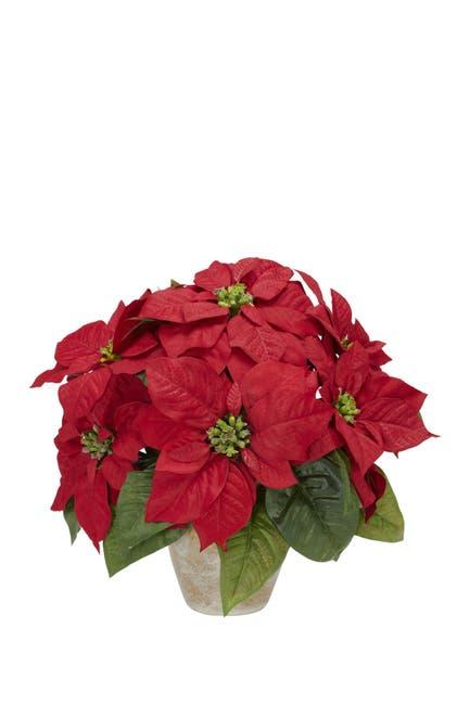 Nearly Natural Red Silk Poinsettia Flower Arrangement Ceramic Vase Nordstrom Rack