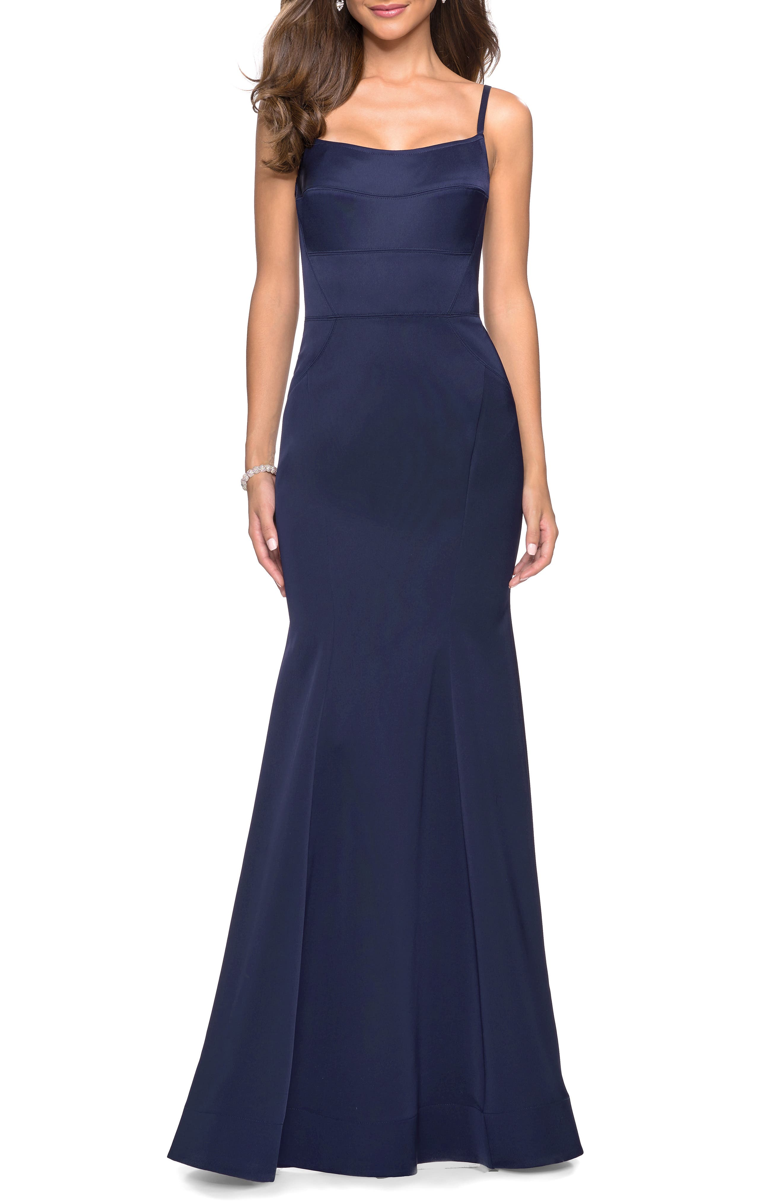 La Femme Structured Thick Jersey Trumpet Evening Dress, Blue