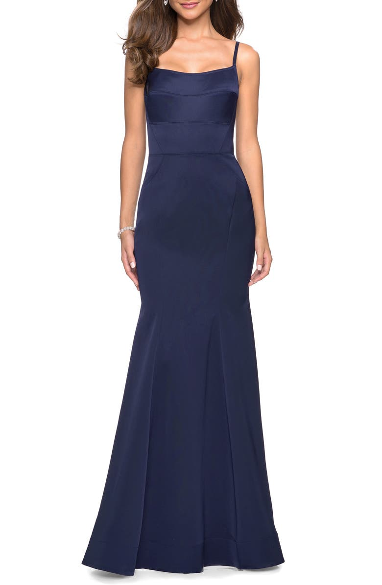 LA FEMME Structured Thick Jersey Trumpet Evening Dress, Main, color, NAVY