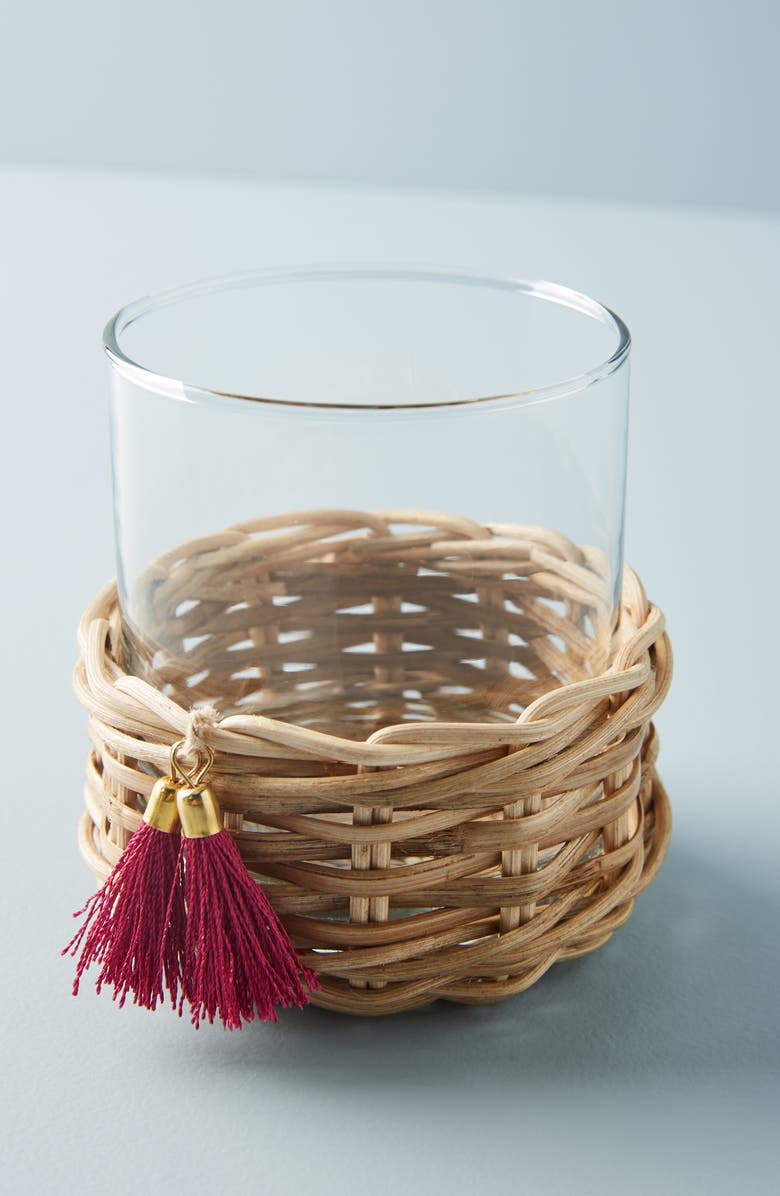 ANTHROPOLOGIE HOME Anthropologie Elena Rattan Wrapped Glass, Main, color, 100
