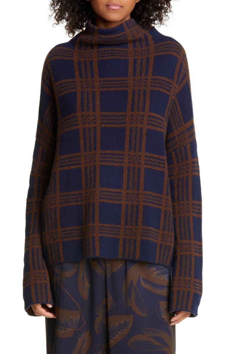 VINCE Tartan Plaid Funnel Neck Wool & Cashmere Sweater, Main, color, MARINE/ UMBRA