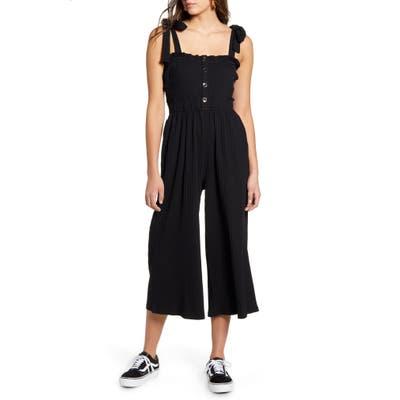 Minkpink Kyla Shirred Crop Jumpsuit, Black