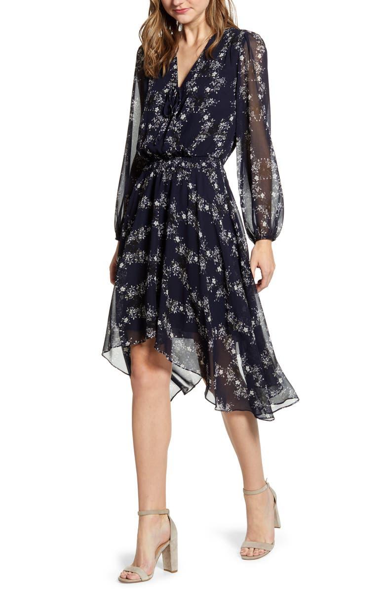 1.STATE Long Sleeve Floral Handkerchief Hem Dress, Main, color, 405