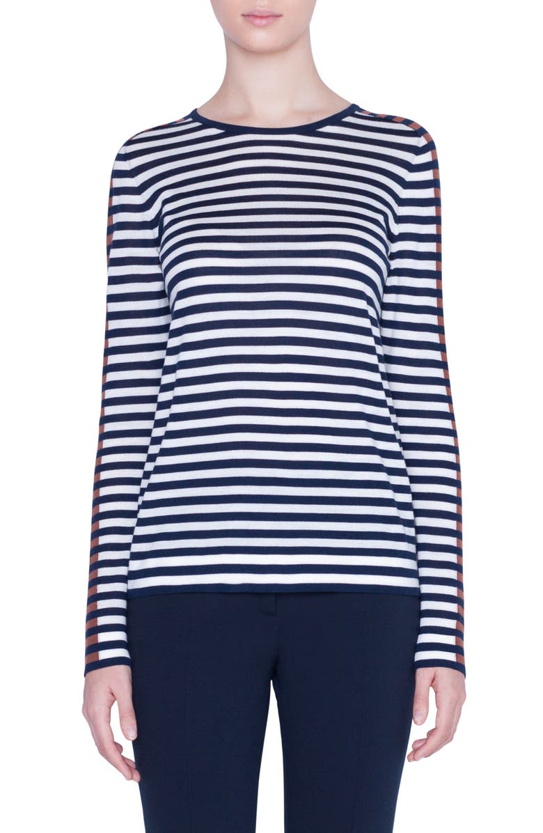 AKRIS PUNTO Signature Stripe Sweater, Main, color, DARK DENIM/ CREAM
