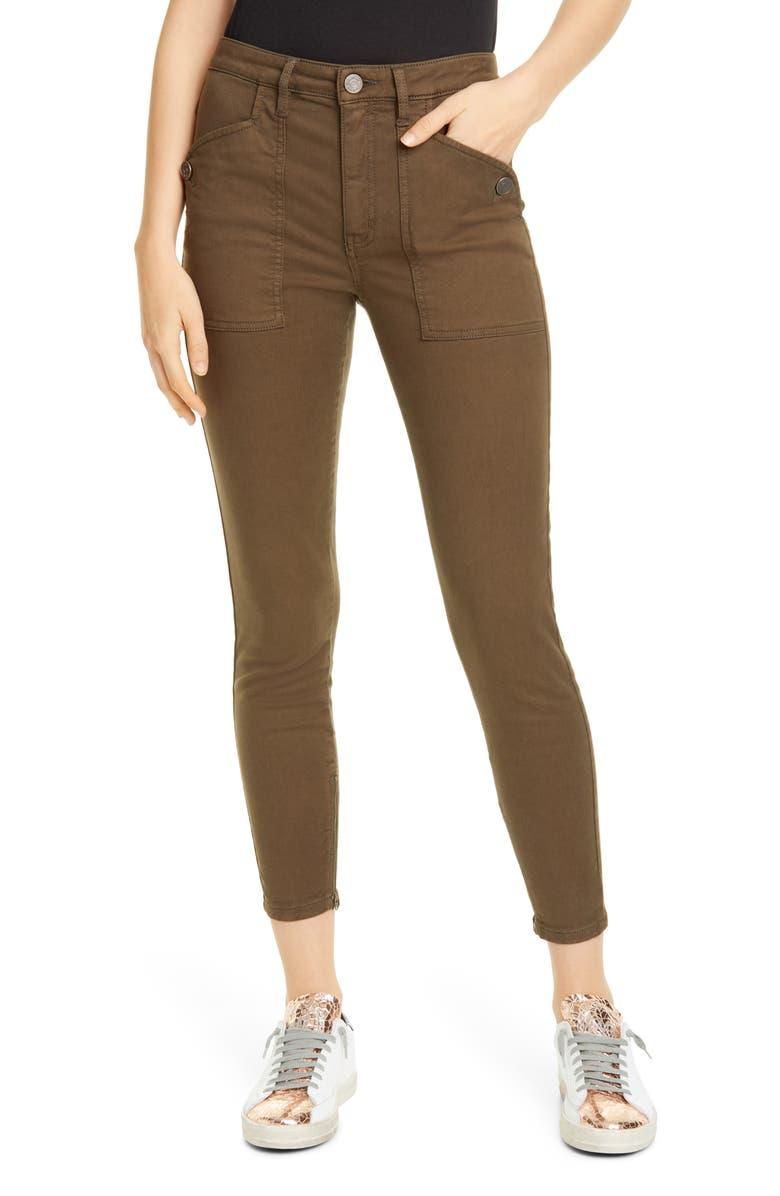 JOIE Keena Zip Cuff Cotton Blend Pants, Main, color, FATIGUE