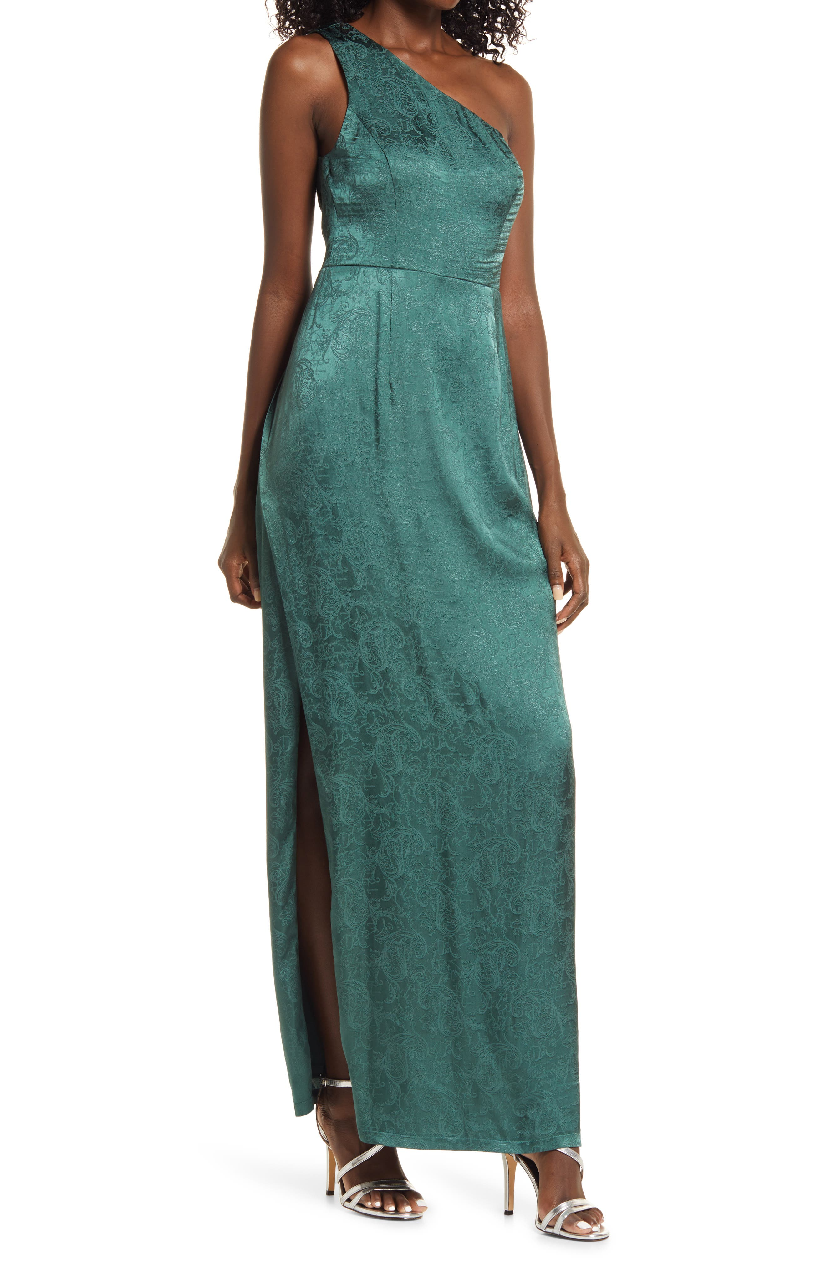 70s Sequin Dresses, Disco Dresses Womens Lulus Deeply Devoted One-Shoulder Jacquard Gown Size X-Small - Green $88.00 AT vintagedancer.com