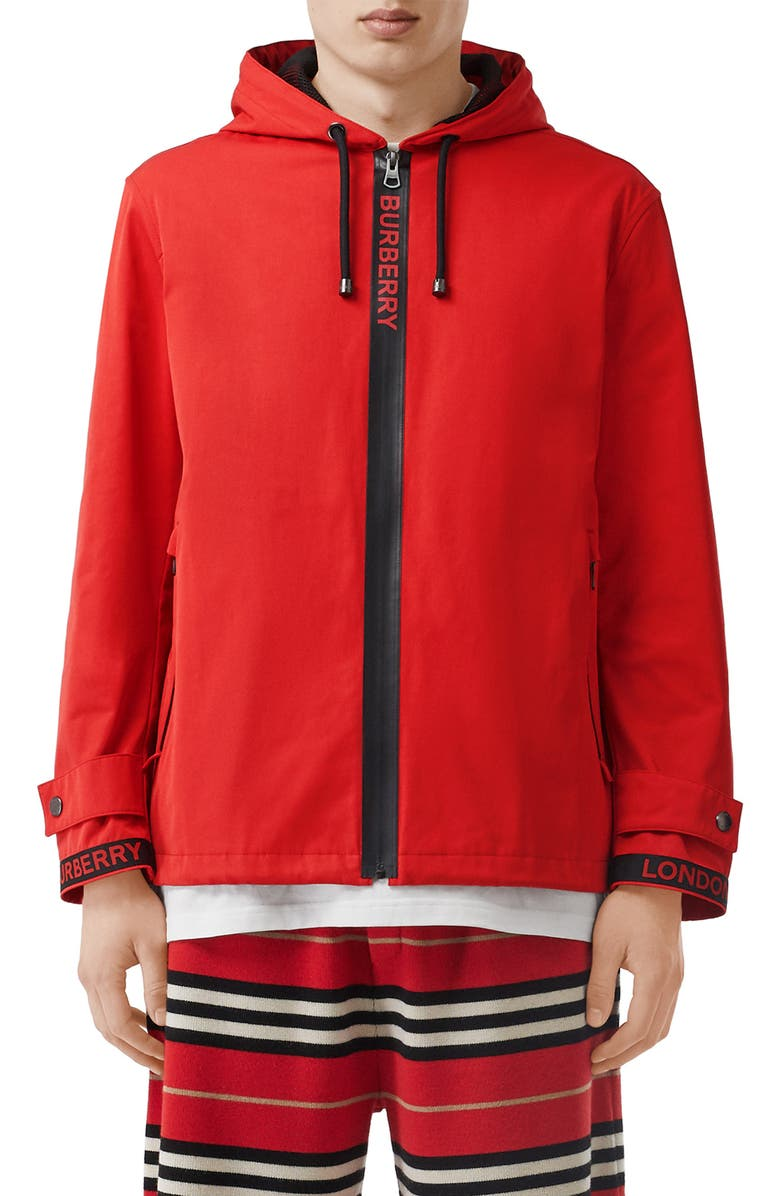 BURBERRY Everton Hooded Jacket, Main, color, BRIGHT RED