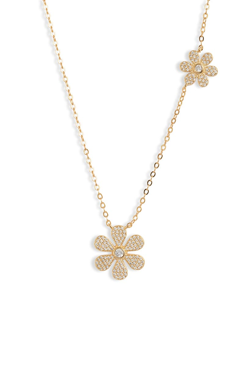 BRACHA Daisy Power Pavé Necklace, Main, color, GOLD / CUBIC ZIRCONIA