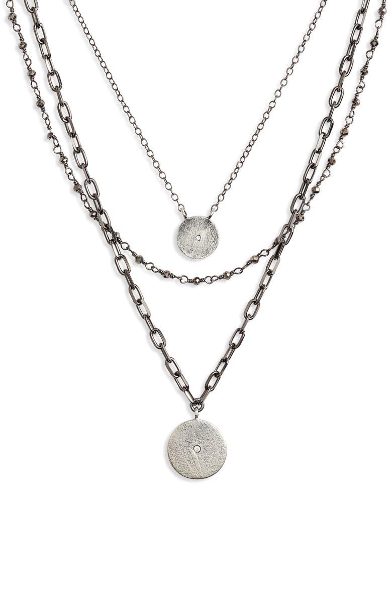 ELA RAE Triple Layer Necklace, Main, color, BLACK