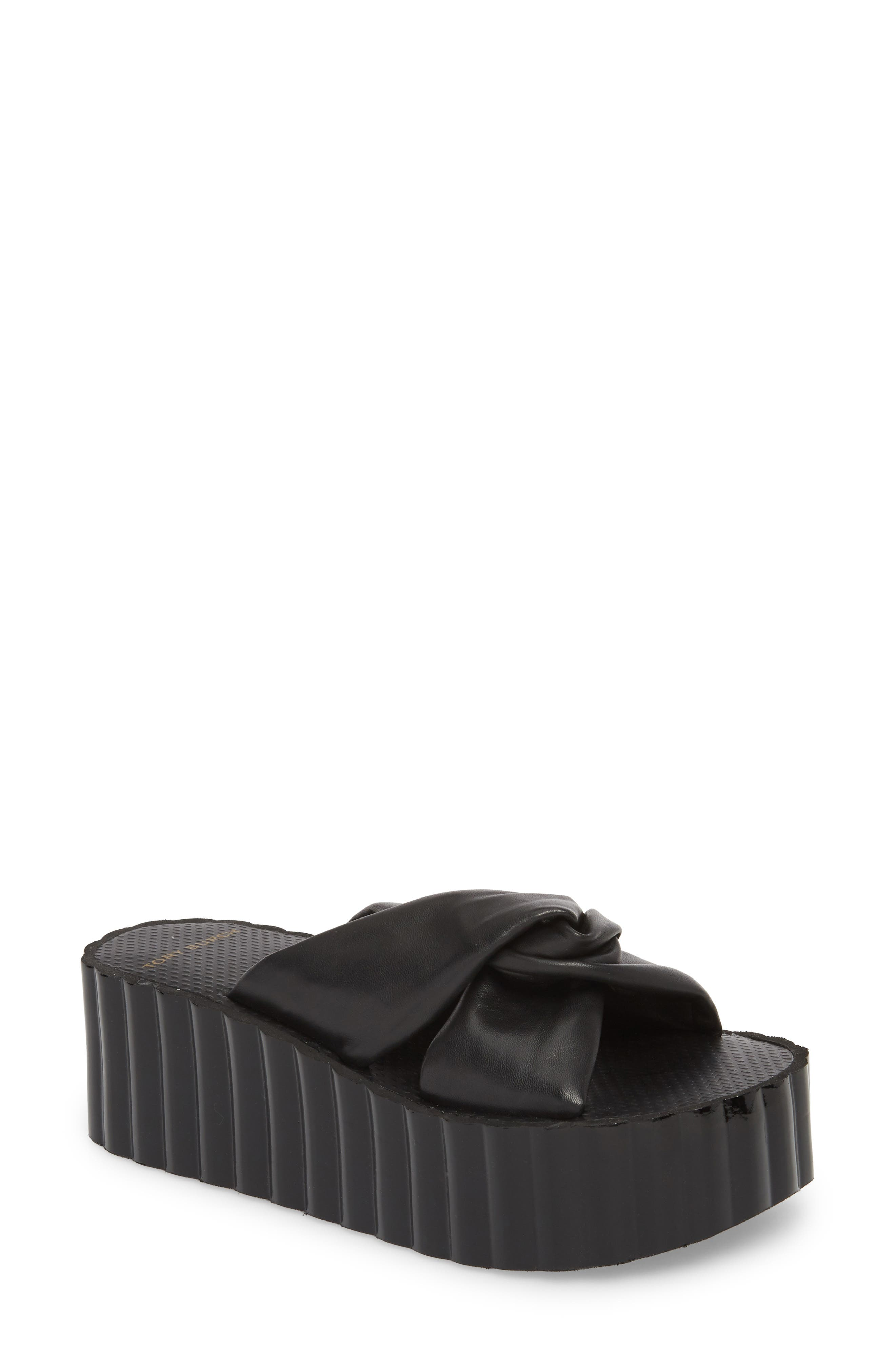 Knotted Scallop Wedge Slide Sandal