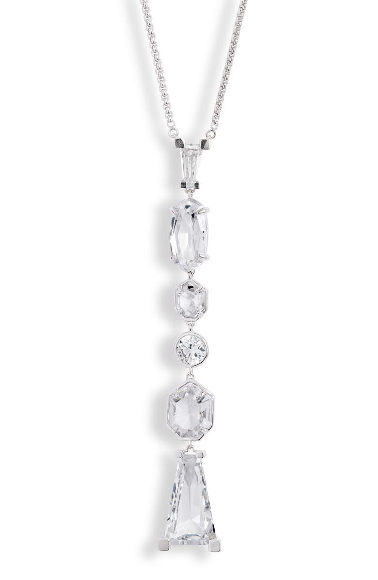 KENDRA SCOTT Gracelynn Long Y-Necklace, Main, color, RHODIUM LUSTRE/ GLASS CZ