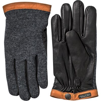 Hestra Deerskin & Merino Wool Gloves, Grey