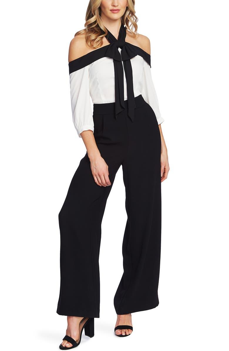 CECE Cold Shoulder Halter Jumpsuit, Main, color, RICH BLACK