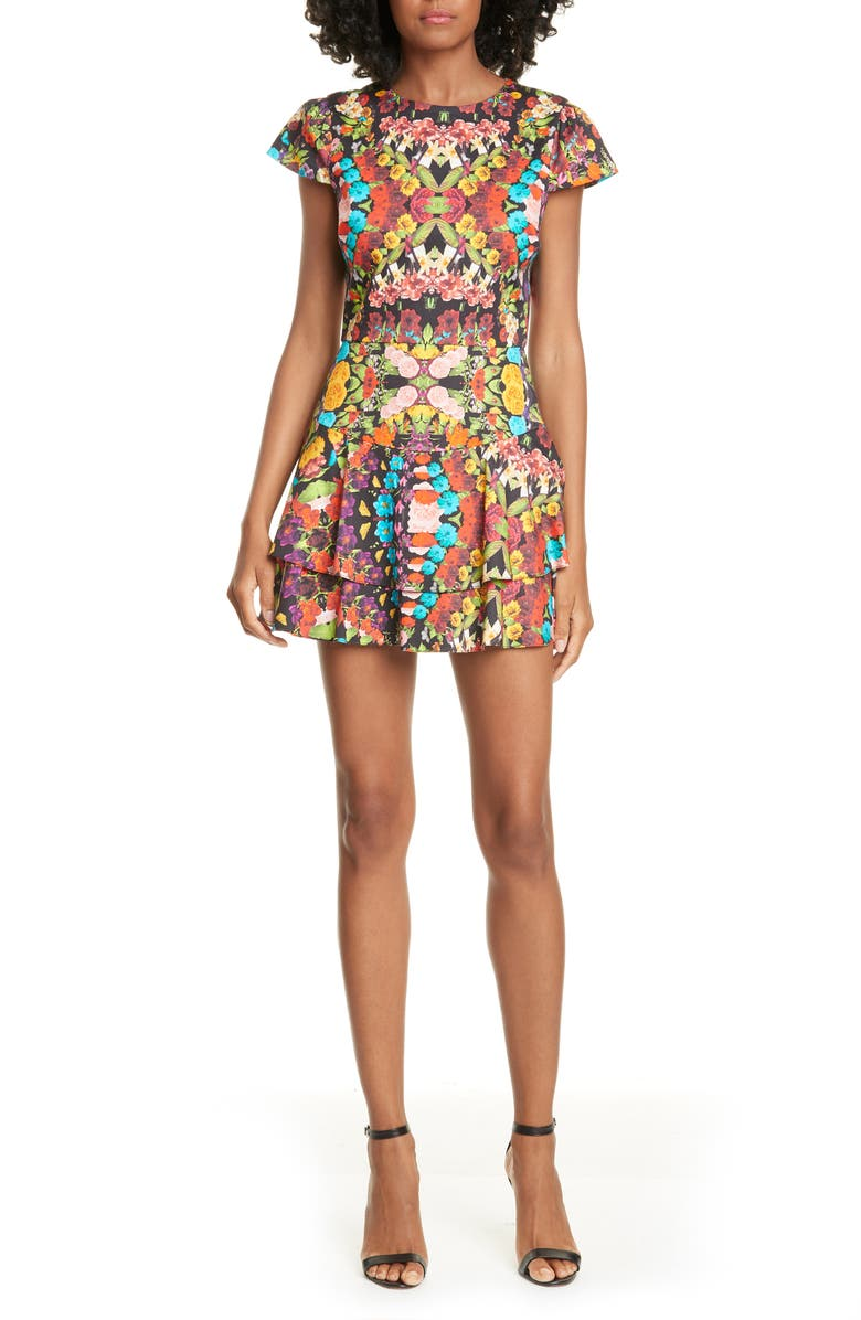 ALICE + OLIVIA Ainsley Floral Double Ruffle Stretch Cotton Minidress, Main, color, KALEIDOSCOPE FLORAL