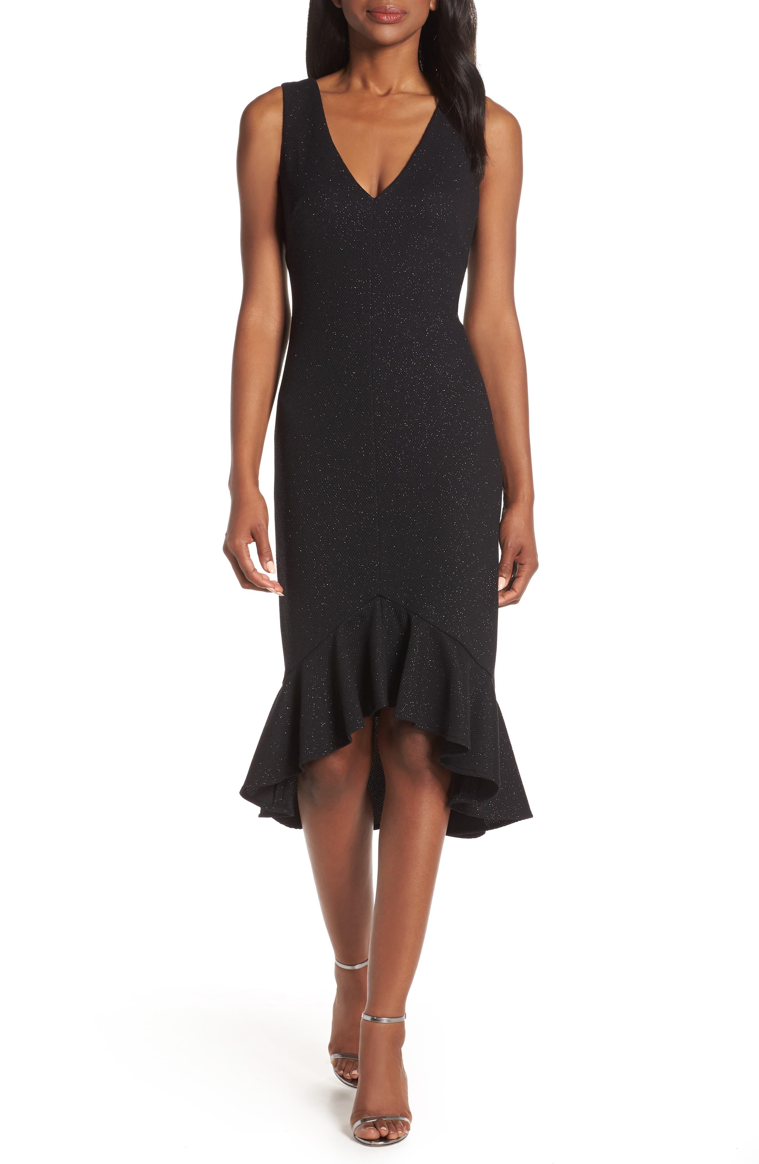 Vince Camuto High/low Flounce Hem Cocktail Dress, Black