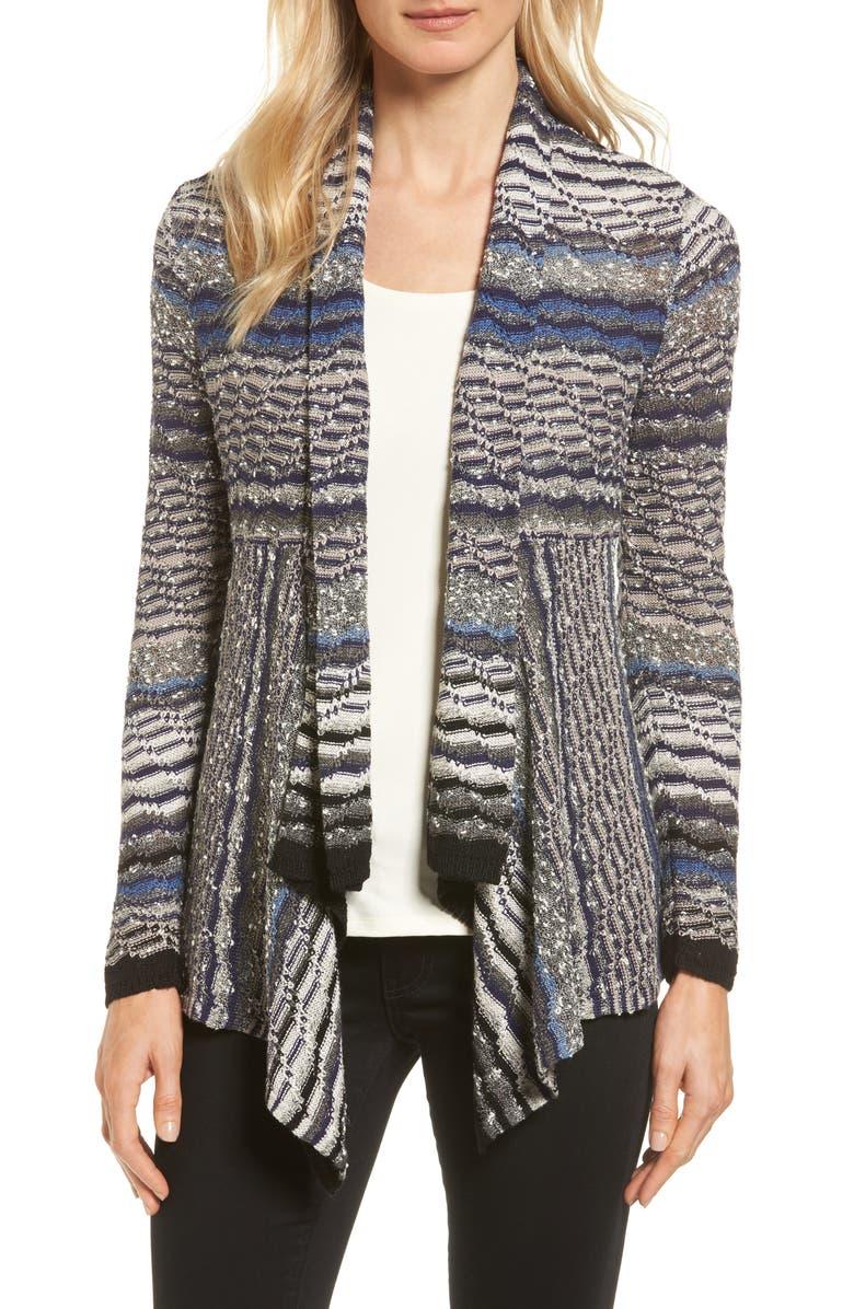 NIC+ZOE Shaded Stripe Drape Front Cardigan, Main, color, 400