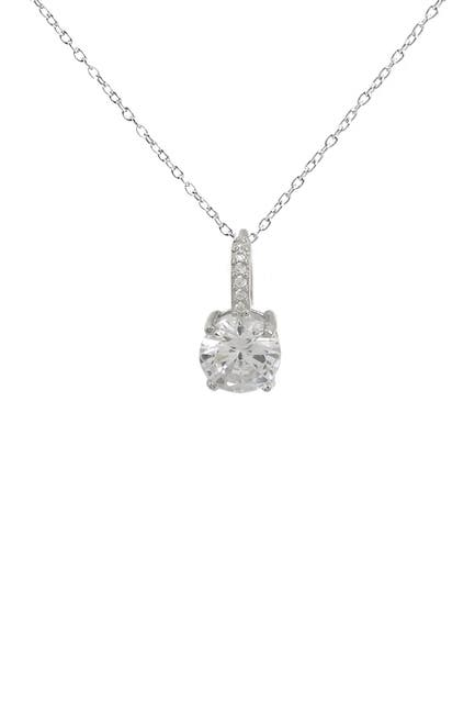 Image of Savvy Cie Sterling Silver Round-Cut CZ Pendant Necklace
