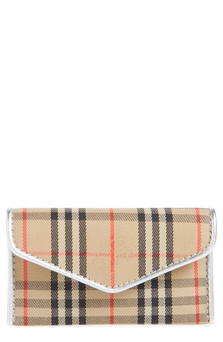 BURBERRY Small 1983 Check Envelope Card Case, Main, color, ANTIQUE YELLOW/ SILVER