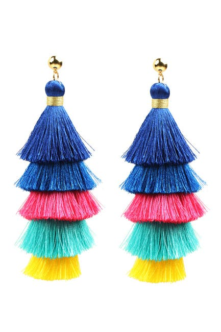 Image of Eye Candy Los Angeles Multicolored Tiered Fringe 24K Gold Plated Drop Earrings