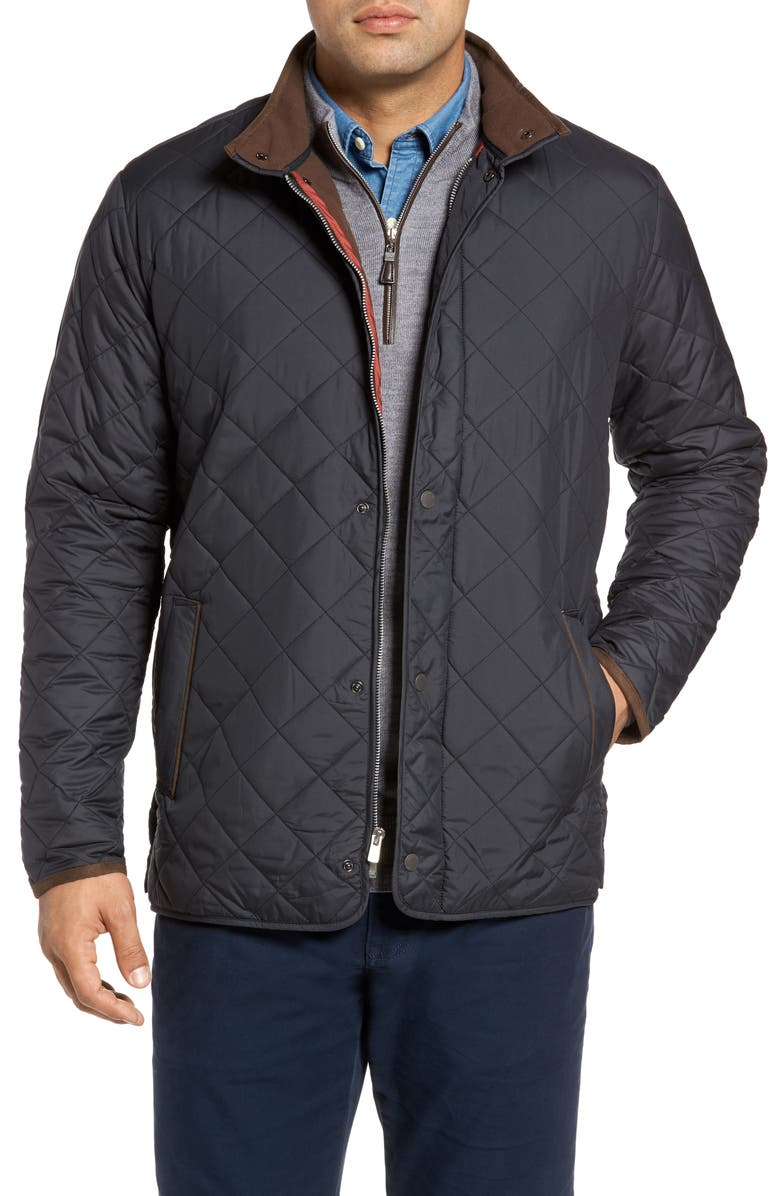 PETER MILLAR Suffolk Quilted Water-Resistant Car Coat, Main, color, 001