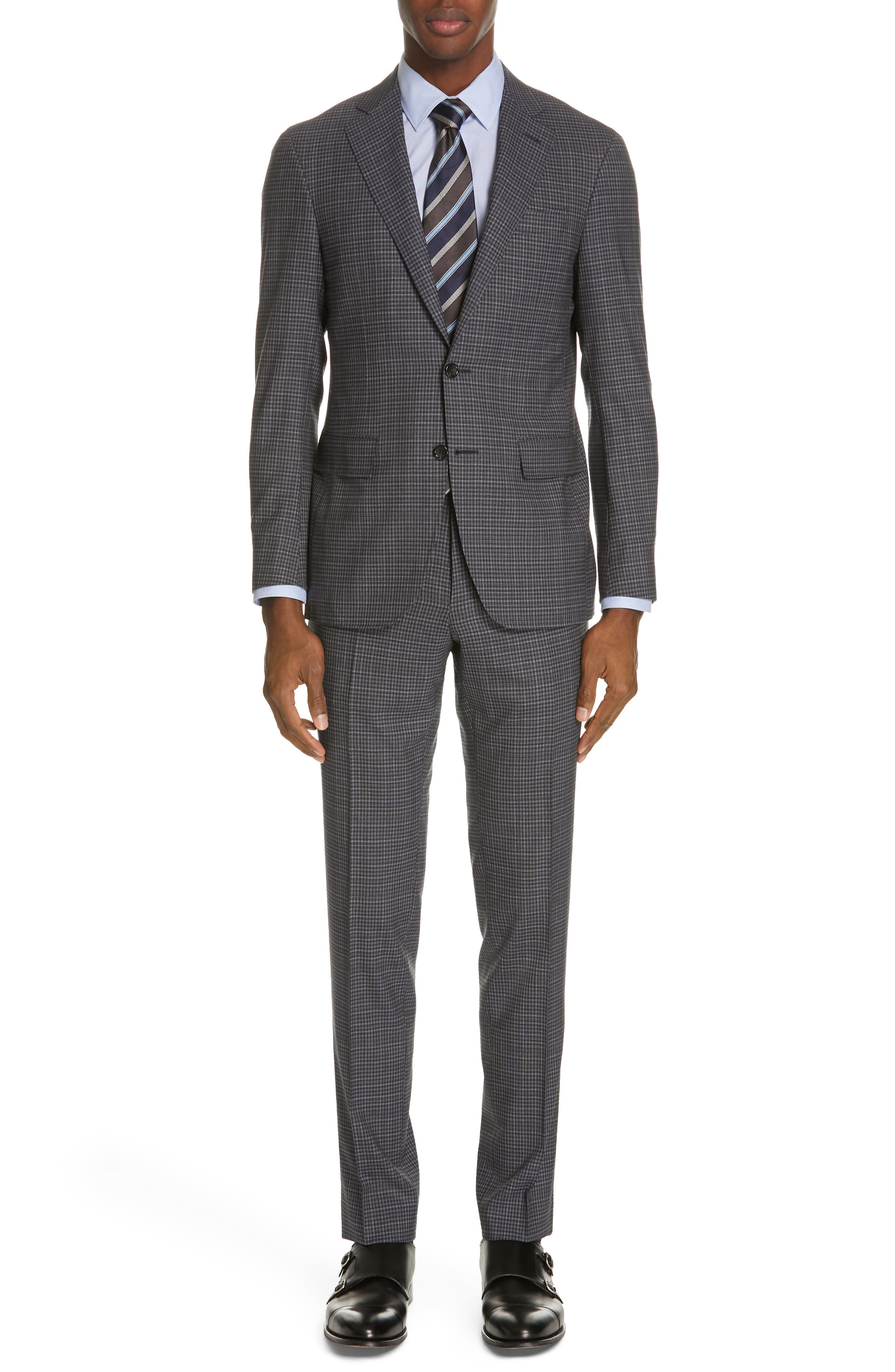 Milano Trim Fit Check Wool Suit, Main, color, CHARCOAL