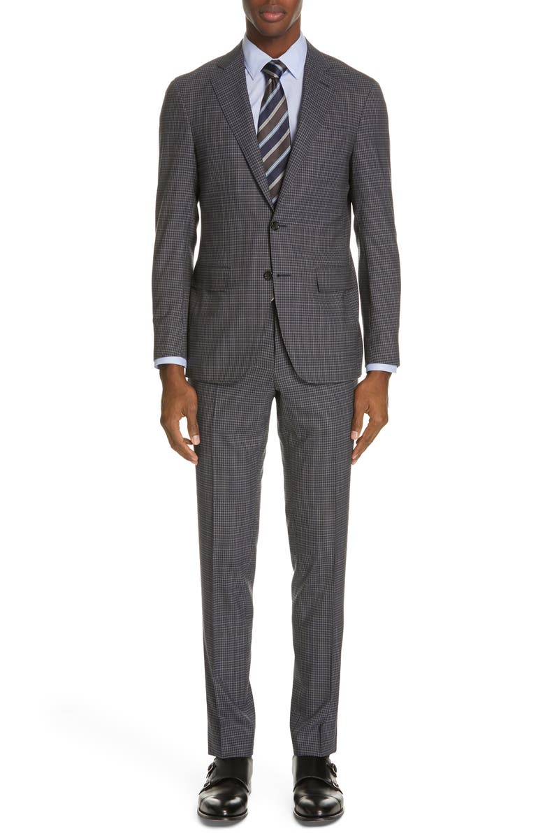 CANALI Milano Trim Fit Check Wool Suit, Main, color, 020