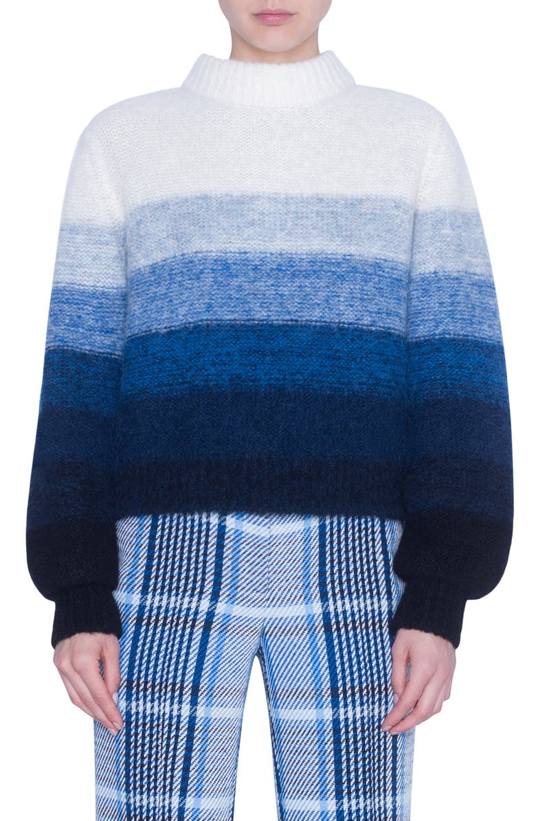 AKRIS PUNTO Stripe Alpaca Blend Balloon Sleeve Sweater, Main, color, BLUE/ MULTICOLOR